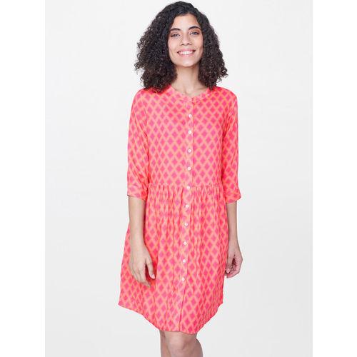 Global Desi Women Pink Printed Shirt Dress