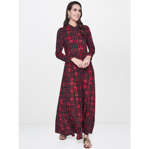 Global Desi Women Red Printed Maxi Dress