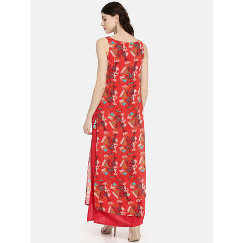 Global Desi Women Red Printed A-Line Dress