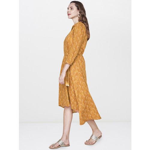 Global Desi Women Mustard Yellow Printed A-Line High-Low Dress