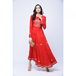 Stylum Red Rayon Festive & Party Embroidered Kurti