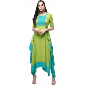 Gulmohar Jaipur Green Embroidered Asymmetric Kurta