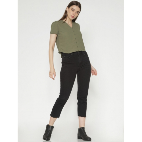 ONLY Women Olive Green Solid Shirt Style Top
