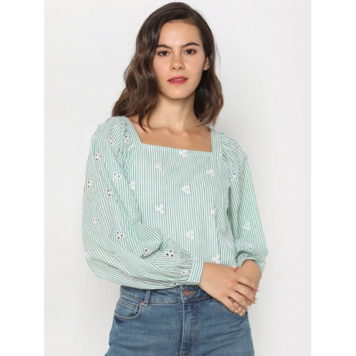 ONLY Women Green & Off-White Striped Cropped Top