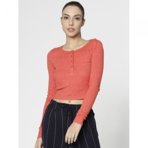 ONLY Women Red Solid Fitted Top
