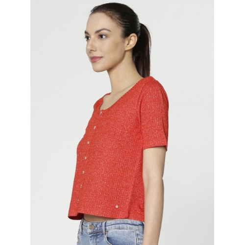 ONLY Women Red Solid Crop Top