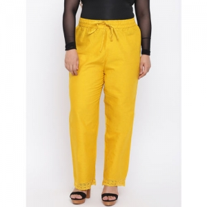 aLL Women Mustard Yellow Regular Fit Solid Trousers