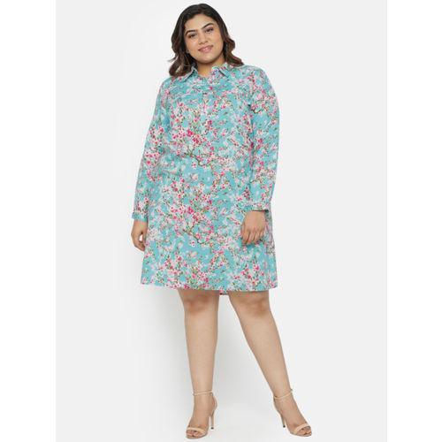 aLL Women Blue Printed Shirt Dress