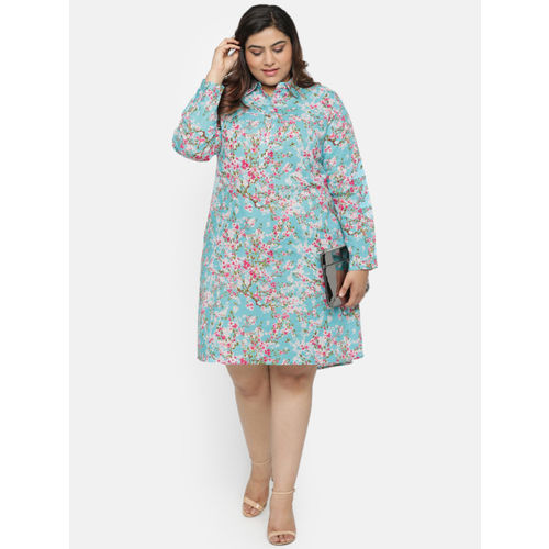 aLL Women Blue Printed Shirt Dress