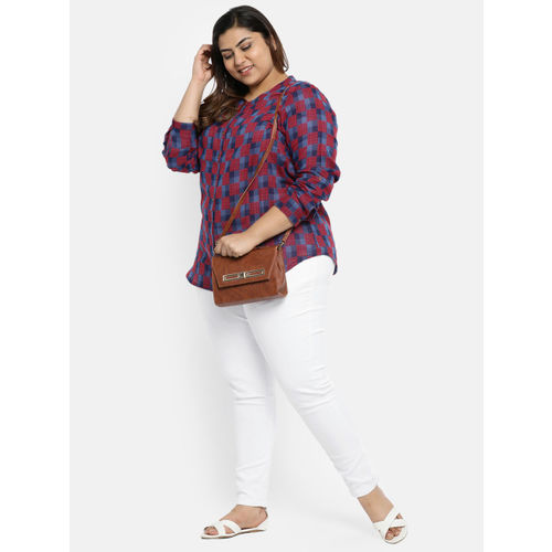 aLL Women Navy Blue & Maroon Regular Fit Checked Casual Shirt