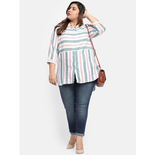 aLL Women White & Green Regular Fit Striped Casual Shirt