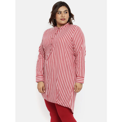 aLL Women Maroon & White Regular Fit Striped Casual Shirt