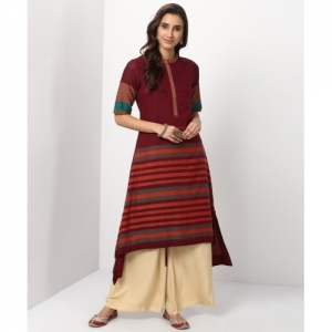 Biba Maroon Cotton Striped High Low Kurta