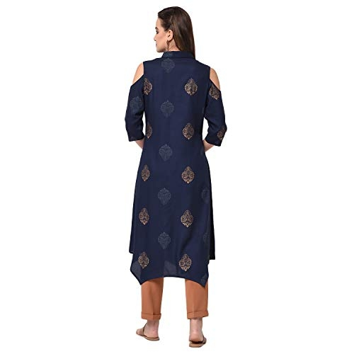 Libas Cold Shoulder Kurta with Contrast edgings