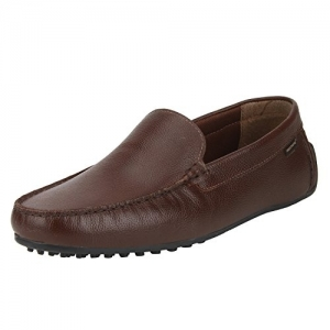 Red Tape Brown Leather Slip On Loafers