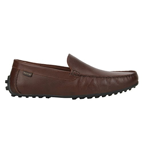 Red Tape Black Leather Slip On Loafers