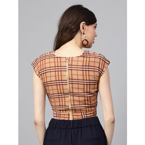 SASSAFRAS Women Brown Checked Crop Wrap Top