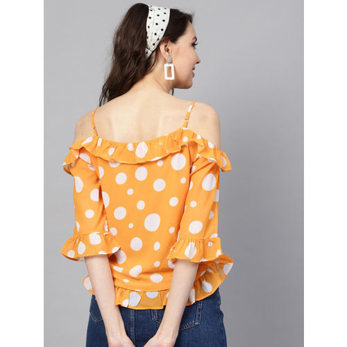 SASSAFRAS Women Yellow & White Polka Dots Print Crop Top