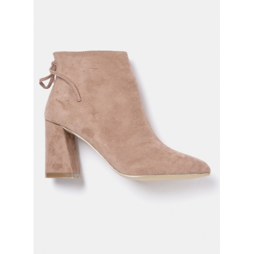 DressBerry Peach-Coloured Solid Heeled Boots
