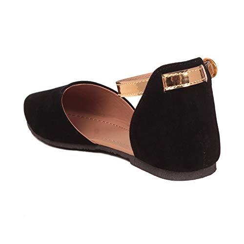 GNIST Black Synthetic Flat Sandal