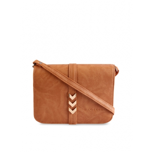 HAQEEBA Tan Brown Solid Sling Bag