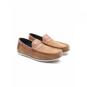 Carlton London Tan Brown Suede Loafers
