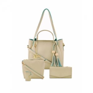 LaFille Pack of 4 Cream-Coloured Solid Handbags