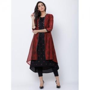 Vishudh Women Black & Maroon Printed A-Line Kurta