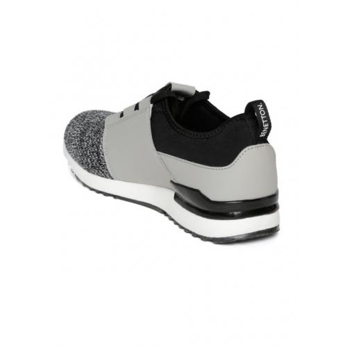 United Colors of Benetton Men Grey & Black Colourblocked Sneakers