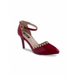 Sherrif Shoes Women Red Solid Heels