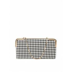 Lino Perros Black & White Checked Clutch with Detachable Sling Strap