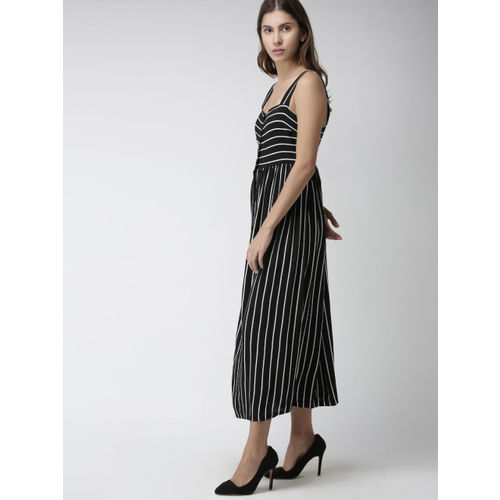 FOREVER 21 Women Black & White Striped Fit & Flare Dress