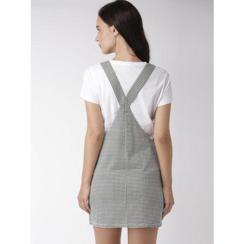 FOREVER 21 Women Black & White Printed Pinafore Dress