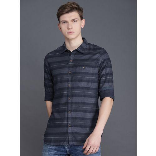 WROGN Men Navy Blue Slim Fit Striped Casual Shirt