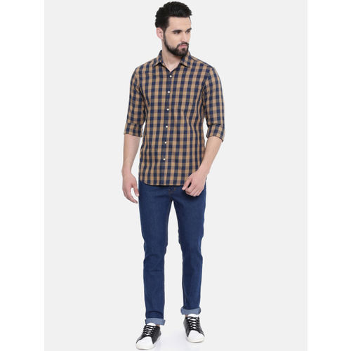 IMYOUNG Men Brown & Navy Blue Slim Fit Checked Casual Shirt