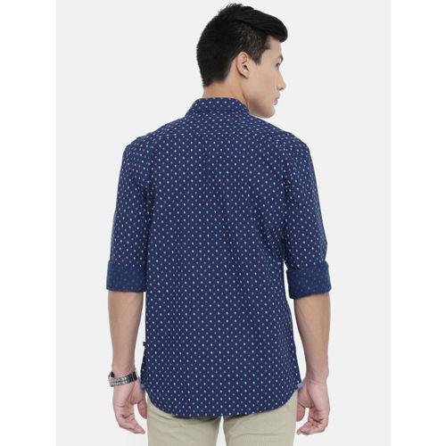 Parx Men Navy Blue Slim Fit Printed Casual Shirt