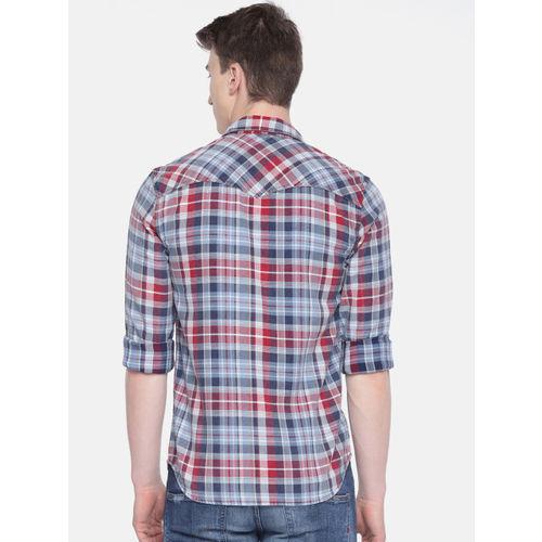 Jack & Jones Men Red & Blue Slim Fit Checked Casual Shirt