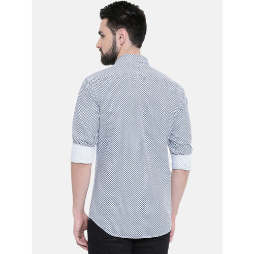 IMYOUNG Men Grey & Blue Slim Fit Printed Casual Shirt