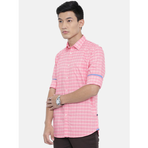 Parx Men Pink & White Slim Fit Checked Casual Shirt