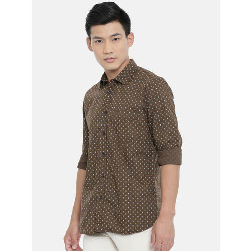 Parx Men Brown & White Slim Fit Printed Casual Shirt