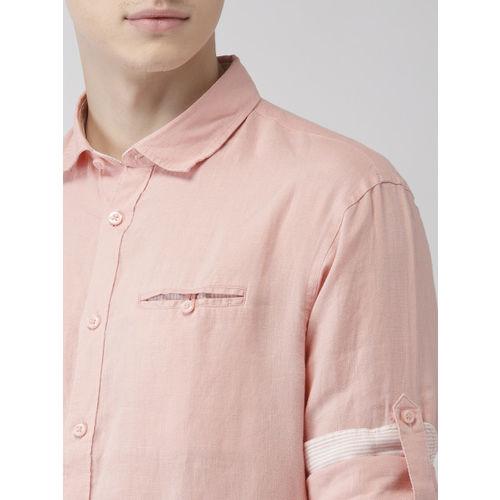 Celio Men Pink Regular Fit Solid Linen Casual Shirt