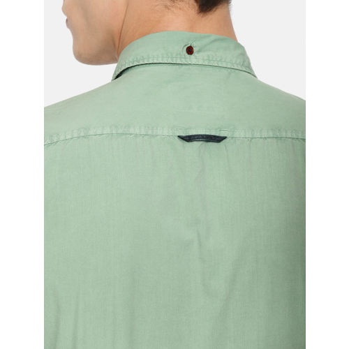 Mr Bowerbird Men Green Tailored Fit Solid Casual Shirt