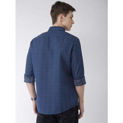 Celio Men Blue Regular Fit Self Design Casual Shirt