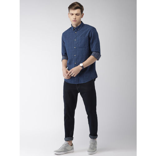Celio Men Blue Regular Fit Self Design Casual Shirt