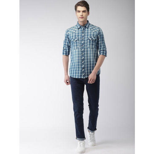 Celio Men Teal Blue & White Regular Fit Checked Casual Shirt
