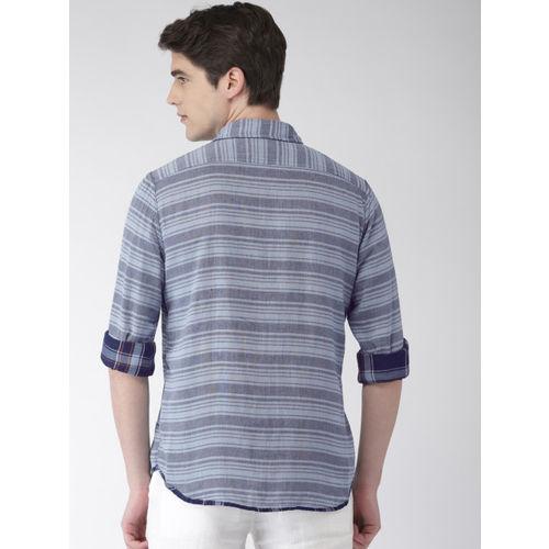 Celio Men Blue Regular Fit Checked Reversible Casual Shirt