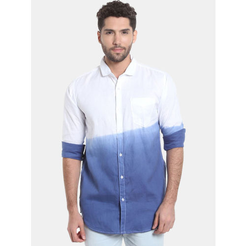 Campus Sutra Men White & Blue Regular Fit Colourblocked Casual Shirt