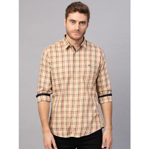 Van Heusen Men Beige & Red Slim Fit Checked Casual Shirt
