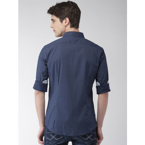 Celio Men Navy Slim Fit Printed Casual Shirt