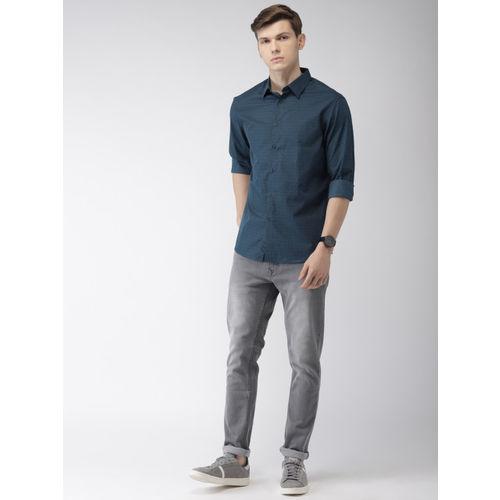 Celio Men Navy Blue Regular Fit Printed Casual Shirt